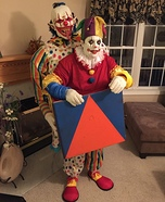 Scary Clown Carrying a Jack in The Box Homemade Costume