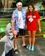 Fun family Halloween costume ideas - Shark Attack Homemade Costume