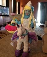 Optical Illusion costumes - Smurfette riding a Unicorn Illusion Costume