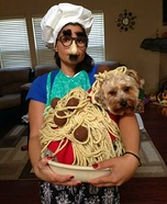 Spaghetti and Meatballs Dog's Homemade Costume