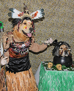 Spooky Witch Doctor and Shrunken Head Dog Costumes