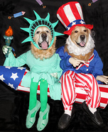 The Statue of Liberty and Uncle Sam Ride a Firecracker Homemade Costume