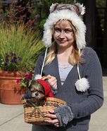 Costume ideas for pets and their owners: Tiny Red Riding Hood and her Wolf Costume