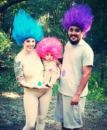 Fun family Halloween costume ideas - Treasure Troll Trio Homemade Costume
