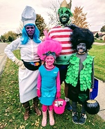 Trolls vs Bergens Family Homemade Costume