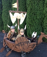 Two Vikings and a Ship Homemade Costume