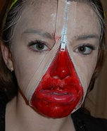 Zipper face costume ideas - Unzipped Face Halloween Costume