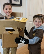 UPS Driver and Boxes Homemade Costume