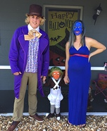 Willy Wonka, Violet and their Oompa Loompa Homemade Costume