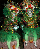 Woodland Nymphs Sitting on Tree Stumps Homemade Costume