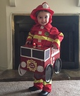 Fireman in Firetruck Homemade Costume