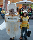 Homemade Toilet and Plumber Costumes